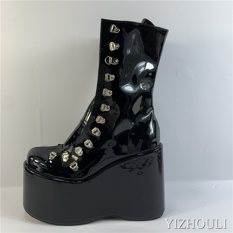 Sexy wedges, 12.5cm stage performance style busker style multi-coloured ankle boots custom, model stage pole dancing shoes