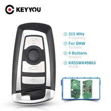 KEYYOU llave inteligente de control remoto coche clave KeylessGo 4 botones/315/433/868Mhz Fob KR55WK49863 para BMW Serie 3 5 7 2009-2016 CAS4 F sistema