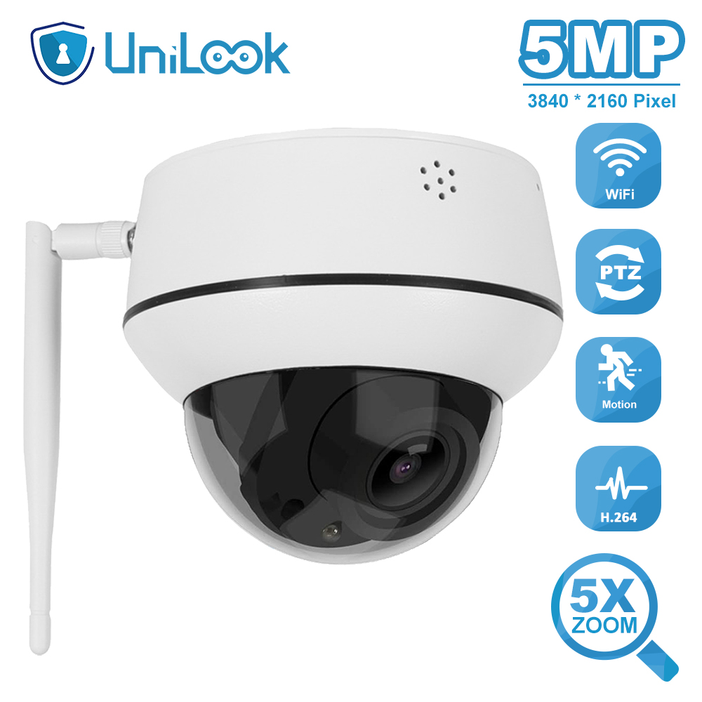 UniLook 5MP Dome PTZ Wireless Camera Outdoor Support 5X Zoom Two Way Audio 2.7-13.5mm Lens Onvif Wifi PTZ Camera P2P View CamHi