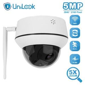 UniLook-cámara inalámbrica domo de 5MP, PTZ, para exteriores, compatible con Zoom 5X, Audio bidireccional, lente de 2,7-13,5mm, Onvif, cámara PTZ con Wifi, P2P, vista CamHi