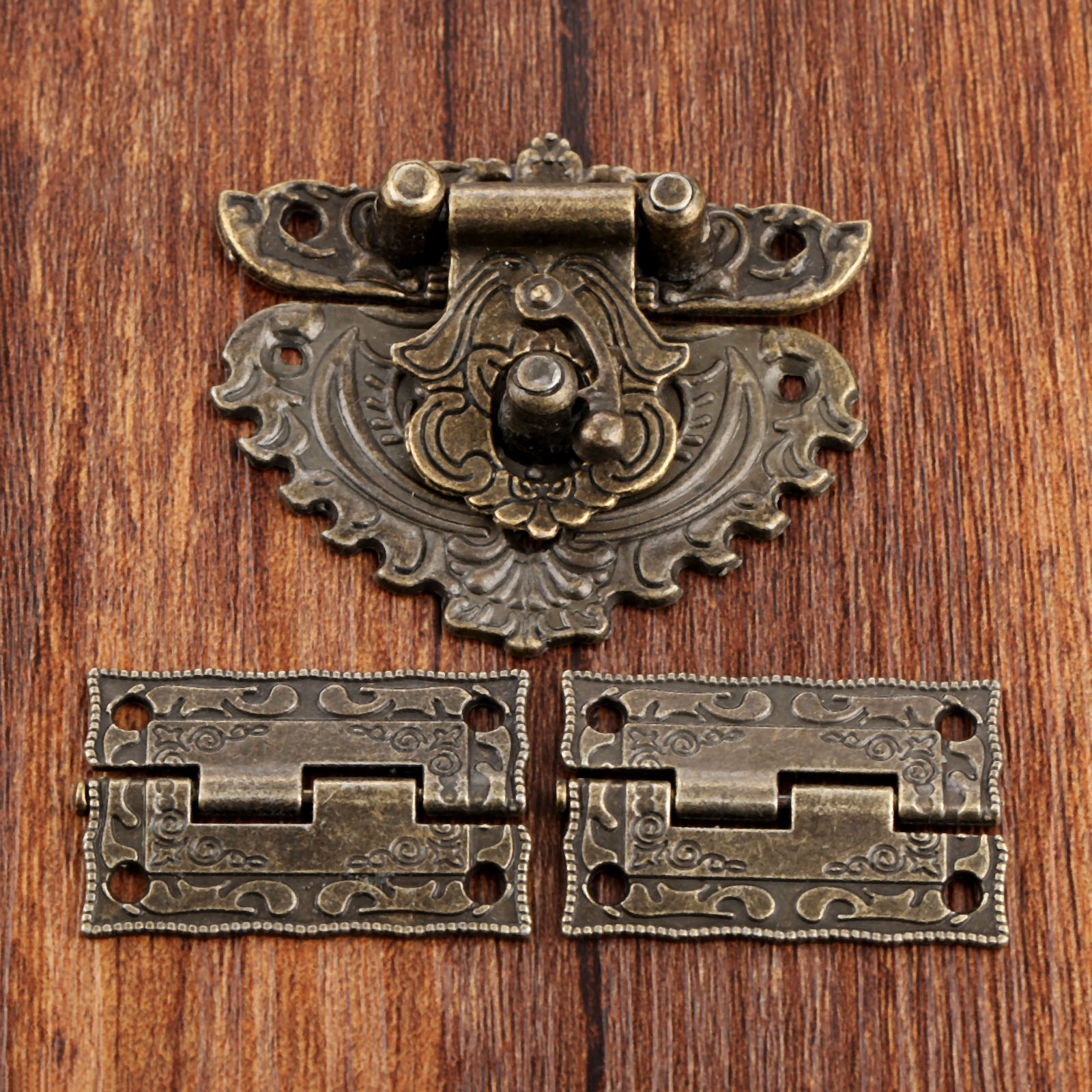 Antique Bronze Furniture Hardware Box Latch Hasp Locks Toggle Buckle 2Pcs Decorative Cabinet Hinges For Jewelry Wooden Box