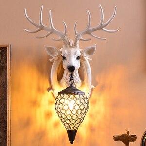 Image 5 - Deer Antler industrial design vintage wall lamp For Farmhouse Kitchen Bar wall decor light Background Bedside horn Lamp Fixtures