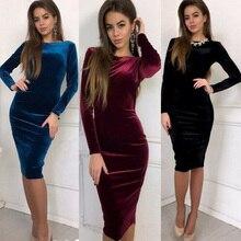 Elegant Plain Evening Party Club Formal Ladies Classic vestidos Fashion Women Long Sleeve Velvet Str