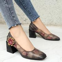 Handmade Genuine Leather Retro Square Toe Heels Pumps Women Shoes Block Heels Slip On Office Shoes With Flowers