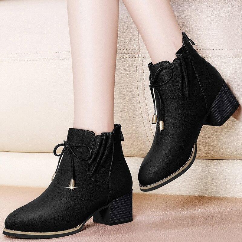 Gucci Tianlun Chunky-Heel Ann Martin Boots Women's British-Style Short Boots Autumn & Winter 2019 New Style Plus Velvet Boots WO