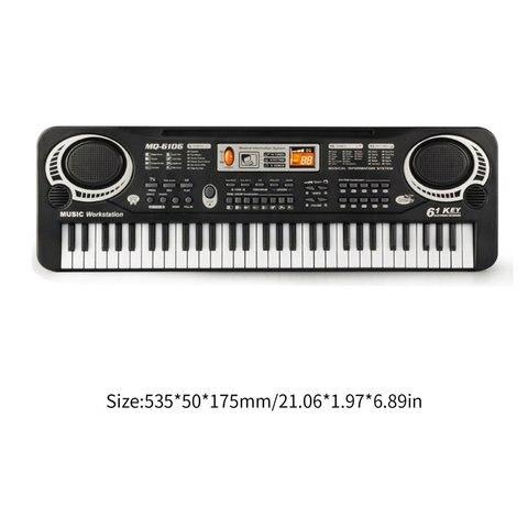 Chaves de Música Presentes com Microfone Teclado Digital Eletrônico Órgão Elétrico Crianças Grandes Aleatório Instrumento Musical 61 Mod. 313037