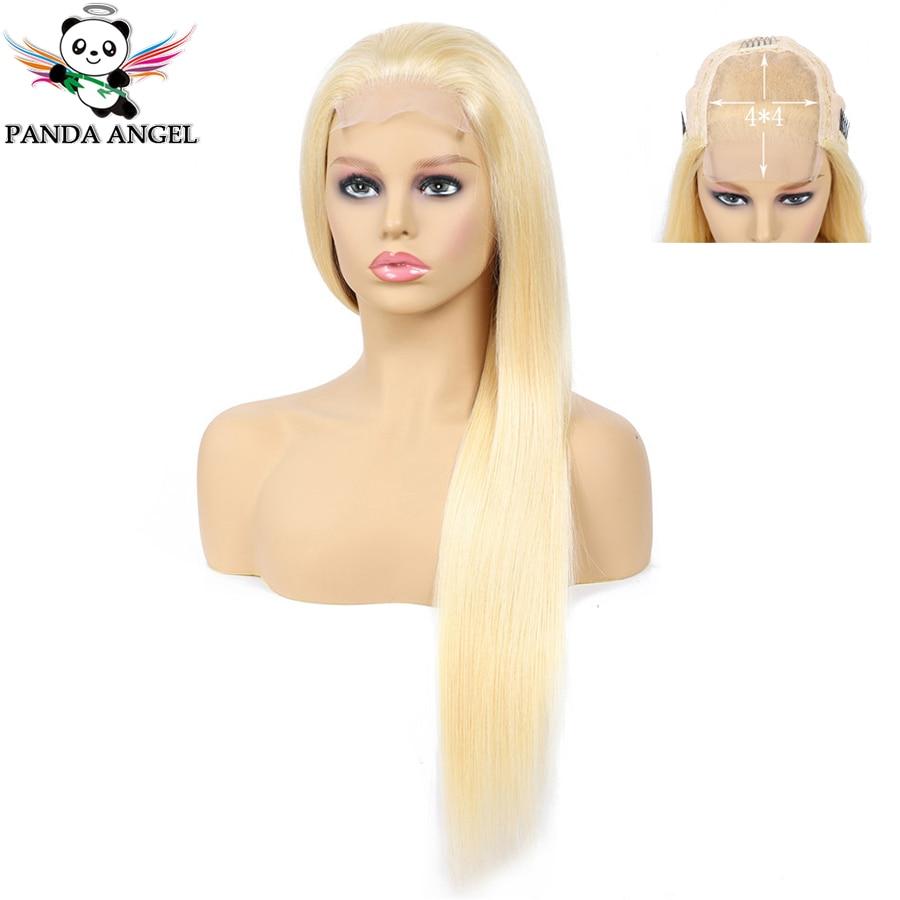 Panda 4*4 #613 1B 27 1B 99J Blonde Lace Closure Human Hair Wigs Brazilian Straight Pre Plucked Honey Blonde Remy Lace Wigs