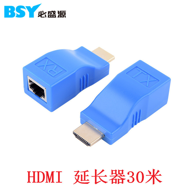 HDMI Extender Single Cable 30 M Transmitter HDMI Stand-up Network Turn RJ45 Signal Amplifier Blue