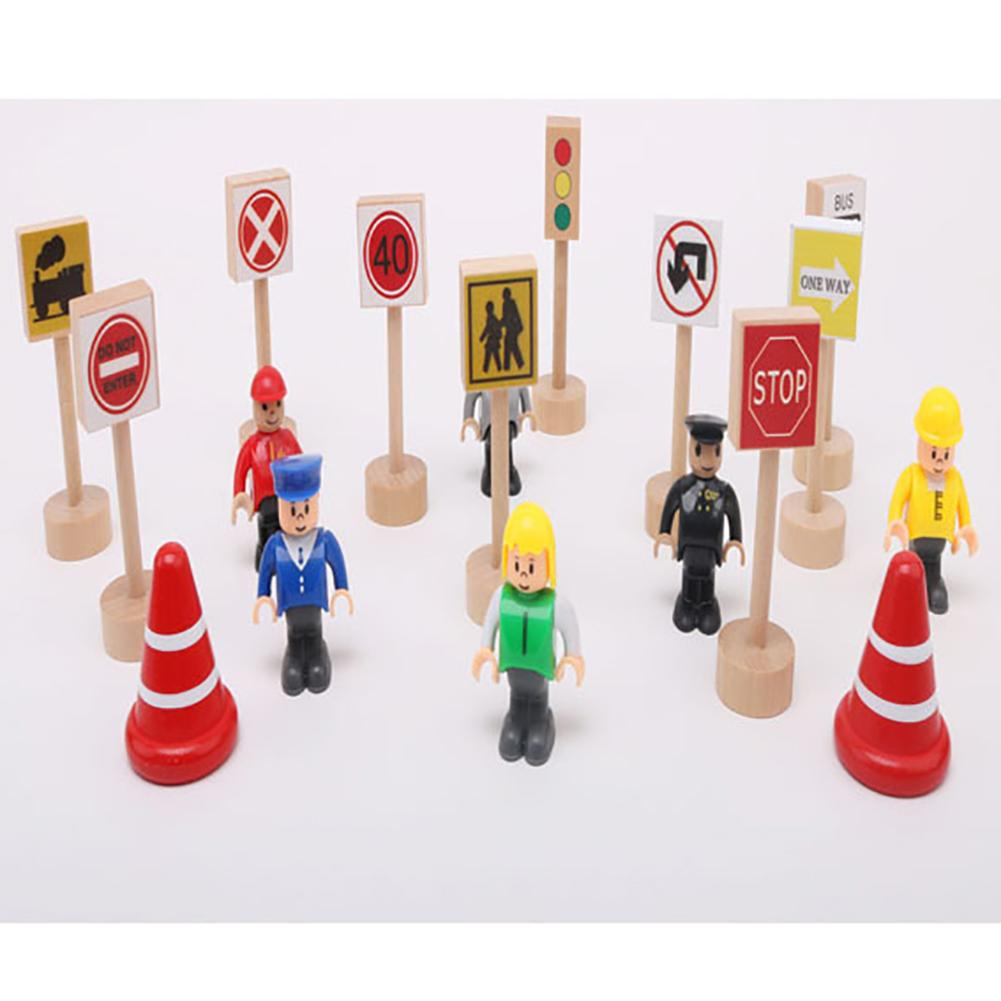 10PCS Colorful Wooden Street Traffic Signs Parking Scene Kids Children Educational Toy Set For Kids Birthday Gift Train