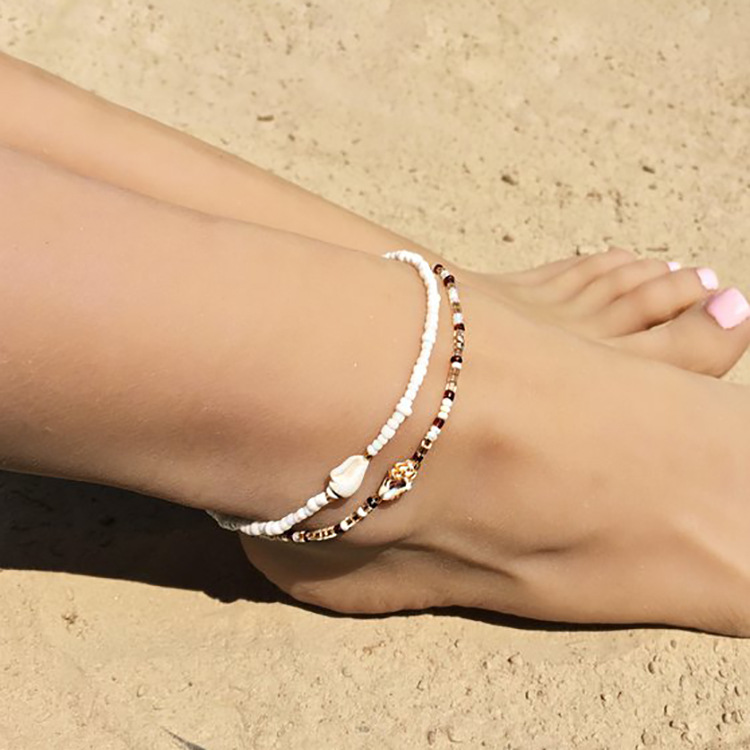 Bohemian style natural shell handmade beads beaded anklet beach two-piece anklet