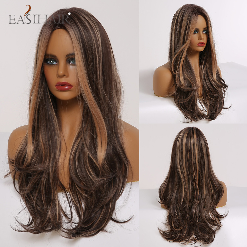 EASIHAIR Long Wavy Brown Synthetic Wigs With Blonde Highlights Cosplay Natural Hair Wigs High Temperature Fiber For Black Women