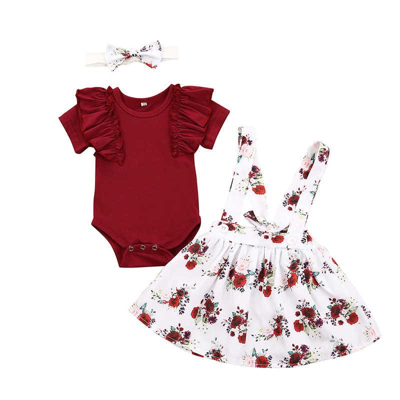 Newborn Toddler Baby Girl Outfits Summer Bodysuit Skirt Headband 3PCS Clothes