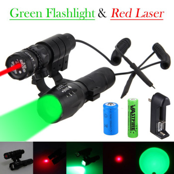 цена на 5000Lm GREEN Q5 Tactical Zoomable Hunting Light Weapon Flashlight+Green/Red Dot Laser Sight Rifle Gun Scope Mount+18650+16340