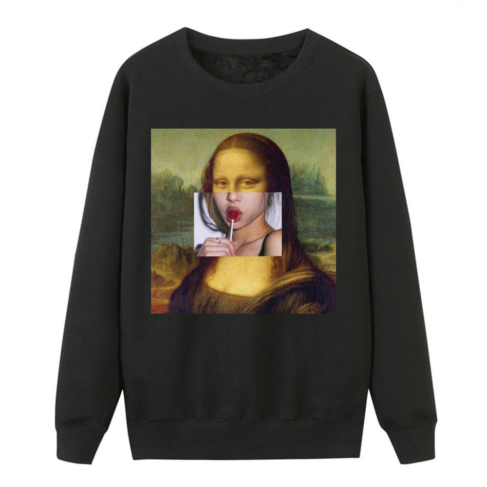 Funny Sweatshirts Mona Lisa Print Sweatshirts Women Hoodies 2019 Sping Winter HooDY Pullover Female Fitness Fashion Tracksuits