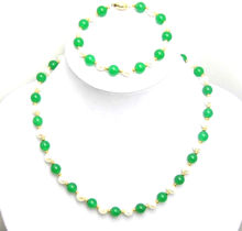 "Qingmos Natural 6-7mm Round White Pearl Necklace Bracelet for Women with Green Jades Stone Necklace & Match Bracelet 7.5"" c1016(China)"