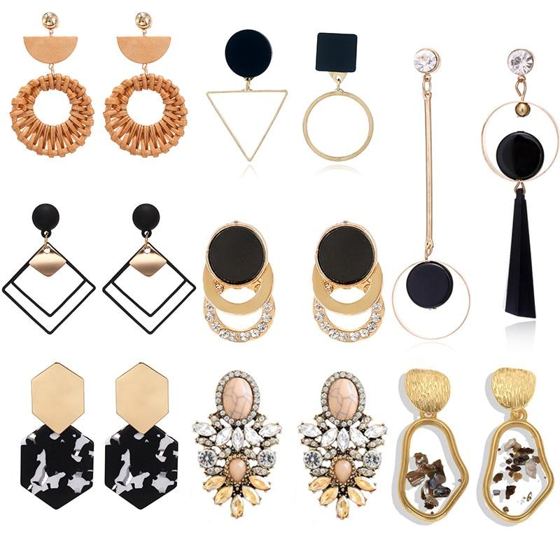 Vintage Statement Drop Earrings For Women 2019 New Bohemia Fashion Jewlery Korean Metal Geometric Golden Hanging Swing Earring(China)