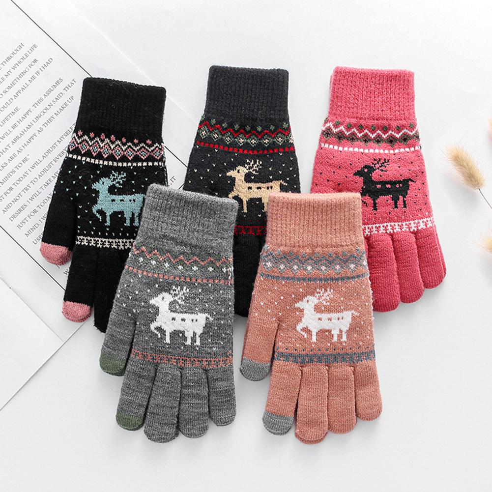 Lady Winter Warm Snow Deer Knitted Thicken Gloves Full Finger Touch Screen Mittens Xmas Gift Luvas Rekawiczki перчатки женские