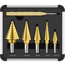 цена на 6pcs HSS Titanium Coated Step Drill Bit With Center Punch Drill Set Hole Cutter Drilling Tool
