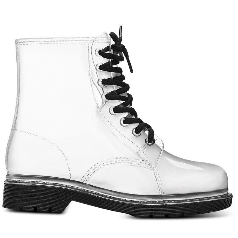 Сапоги Aleafalling женские непромокаемые, на шнуровке, прозрачные, карамельные цвета, Уличная обувь для девушек, AW18