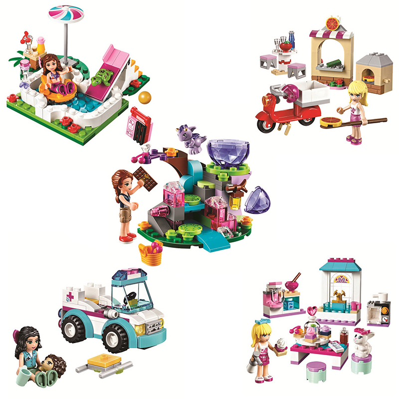 Compatible Legoinglys Friends Girls Princess Series Houses Animals Emma/Mia Cat Play Pet House Building Blocks Bricks Toys Girls