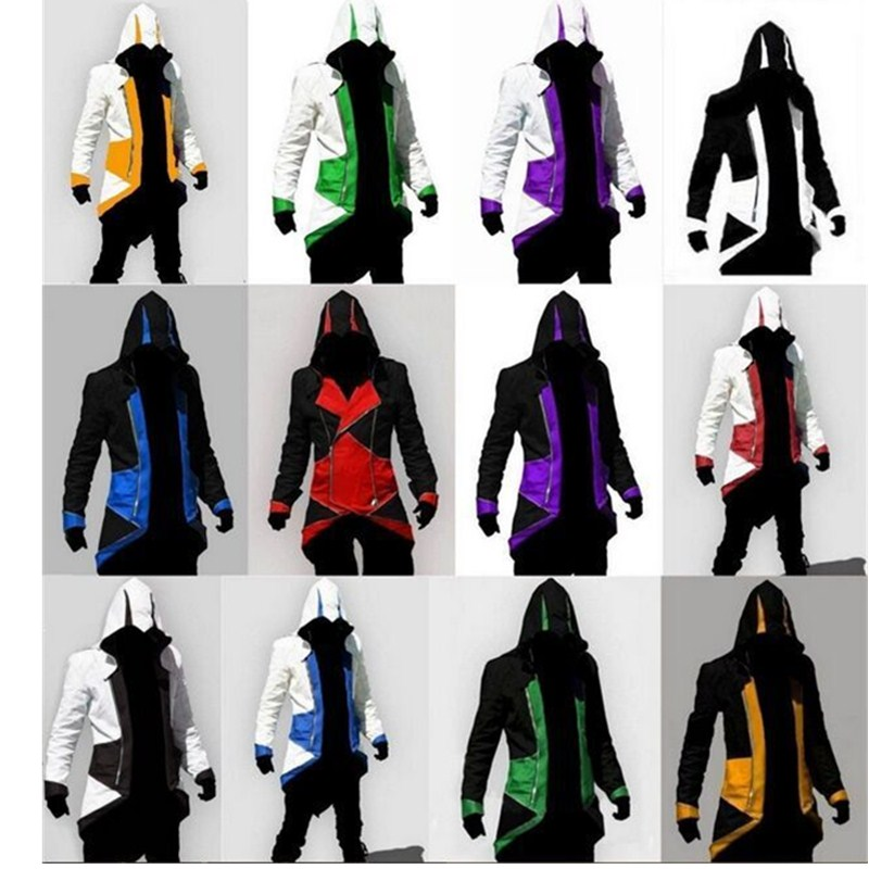 Assassins Creed Cosplay Costume Adult Men Halloween Party Costume Killer Creed Streetwear Hoodie Jacket Outwear Coats Plus Size