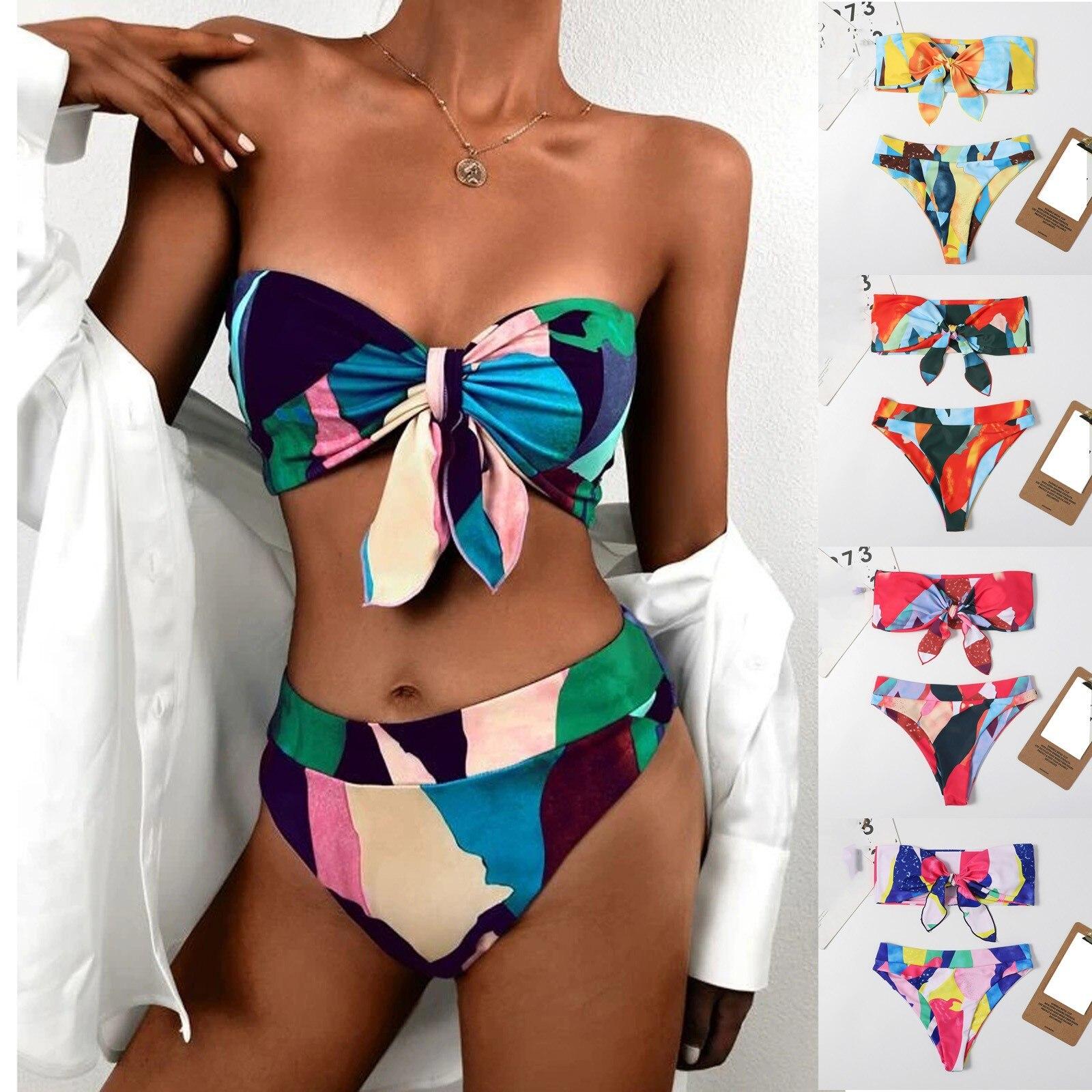 Bikini couleur imprimé avec caleçon
