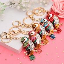 2019 Popular Owl Design Bag Car Keychain Crystal Enamel Anaiml Bird Metal Keyring Key Chain Handbags Accessories Creative Gift