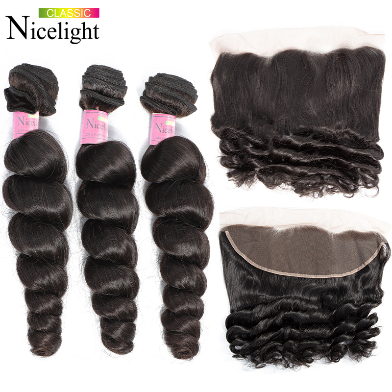 Loose Wave Bundles With Frontal Perviuan Hair Bundles Nicelight Human Hair Bundles With Frontal 13X4 Lace Frontal Closure