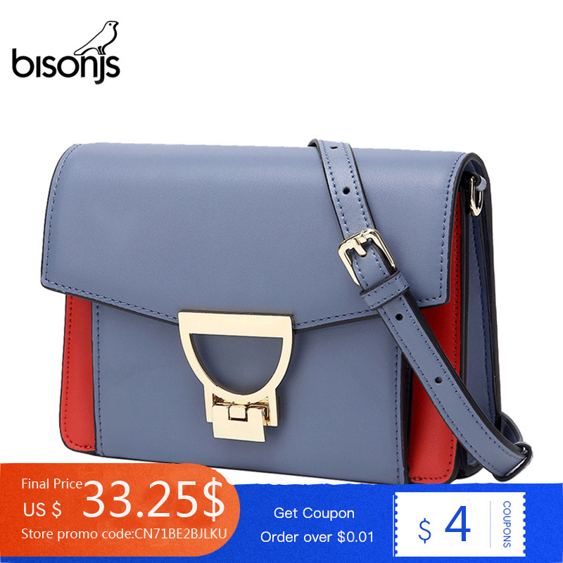 BISONJS Luxury Handbags Women Bags Designer Cow Leather Crossbody Bags For Women Female Shoulder Messenger Women Bags 2020 B1638