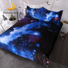 BlessLiving Nebula Bedding Set 3D Galaxy Duvet Cover 3 Piece Kids Boy Girl Bed Linen Blue Purple Space Bedding Bedspreads Queen(China)