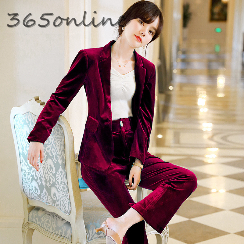 Autumn Winter High Quality Velvet Formal Women Business Suits With Pants And Jackets Coat Professional Blazers Pantsuits Wine