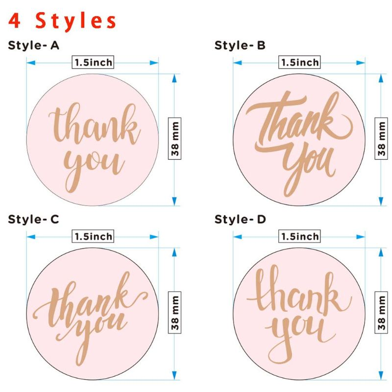 2021 New 500pcs/roll 1.5 Inch Round Rose Gold Thank You Stickers Seal Labels for Baking Package Wedding Party Scrapbooking Decor Party Decoration Home Decoration cb5feb1b7314637725a2e7: A|B|C|D