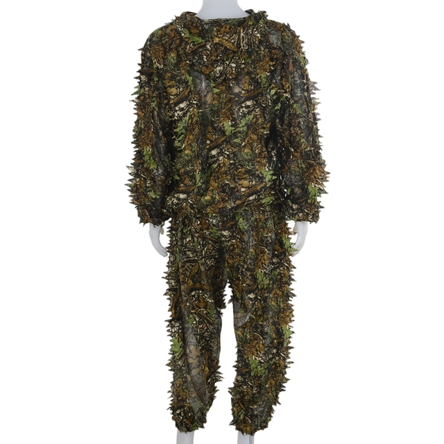 3D Leaf Adults Ghillie Suit Woodland Camo/Camouflage Hunting Deer Stalking in 6