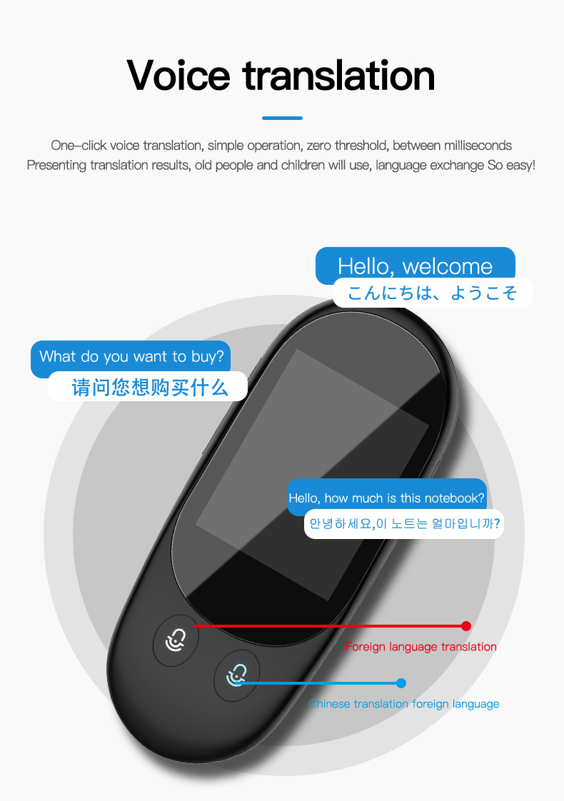 Voice and Photo Scanning Pocket Language Translator with 2.4 Inch Touch Screen and WIFI Supports 79 Languages and Offline Translation 9