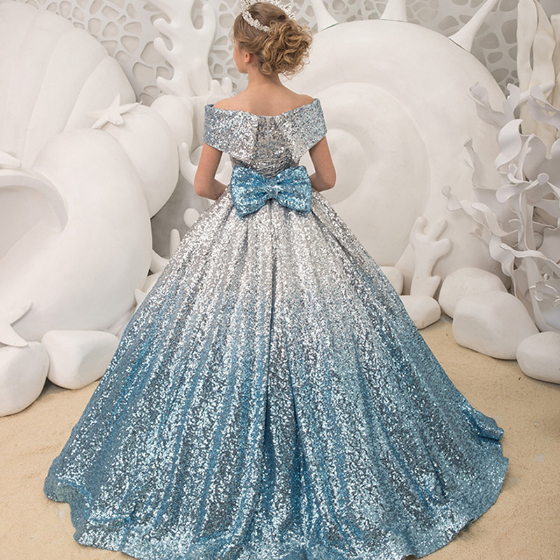 New Party Flower Girl Dresses 2020 Sequined Ball Gown Wedding Banquet Off shoulder Dress Girl Birthday Party Dance Performance