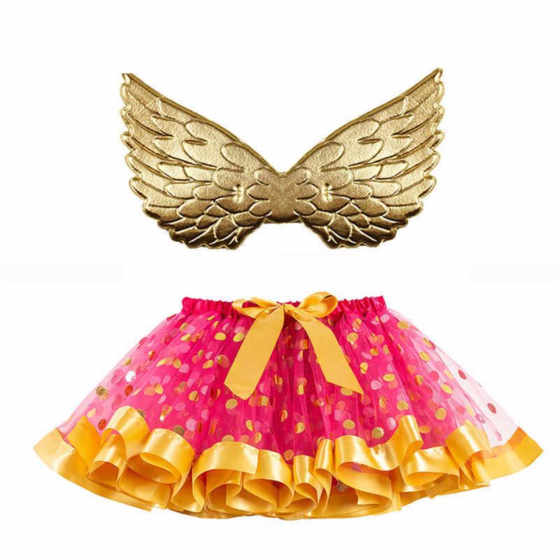 Halloween występy spódniczka Tutu dla niemowlaków z skrzydło pastelowe Rainbow Tutu Dot krótki spódnica do tańca dla dzieci dziewczyna ładna spódnice 2-6year