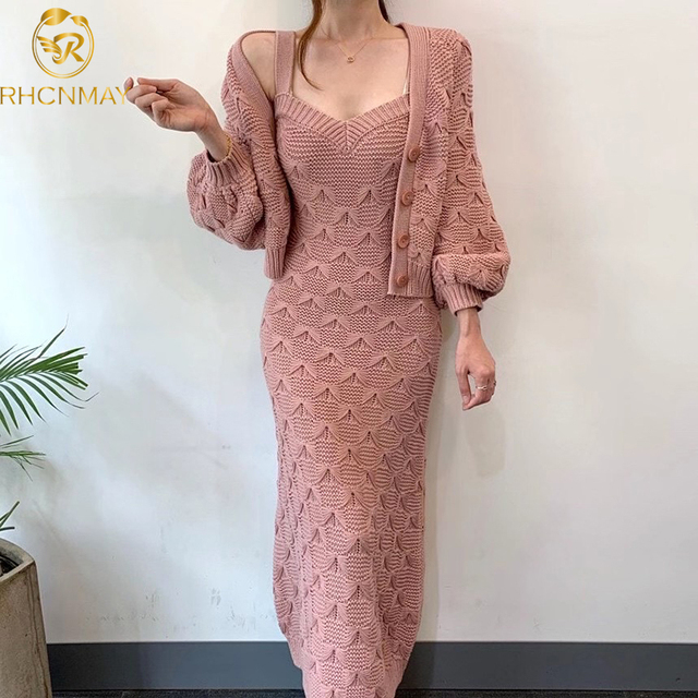 Chic Knitted Single-breasted Lantern Sleeve Cardigan Sweater with V Neck Sleeveless Sweater Dress 2 Piece Set 1