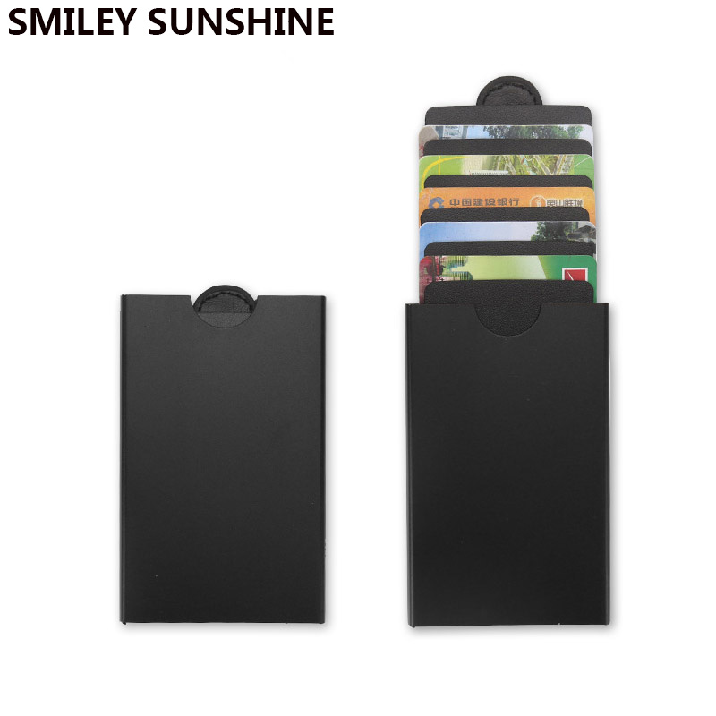 Rfid Card Holder Slim Pull Out Wallet Men Women Money Bag Vintage Thin Mini Small Smart Wallets Male Purse Metal Wolet For Man