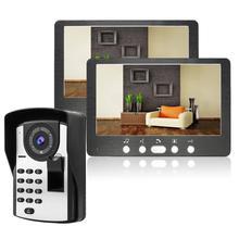 7 Cal przewodowy telefon drzwi wideo linii papilarnych + hasło odblokować kamera wideo domofon System bezpieczeństwa