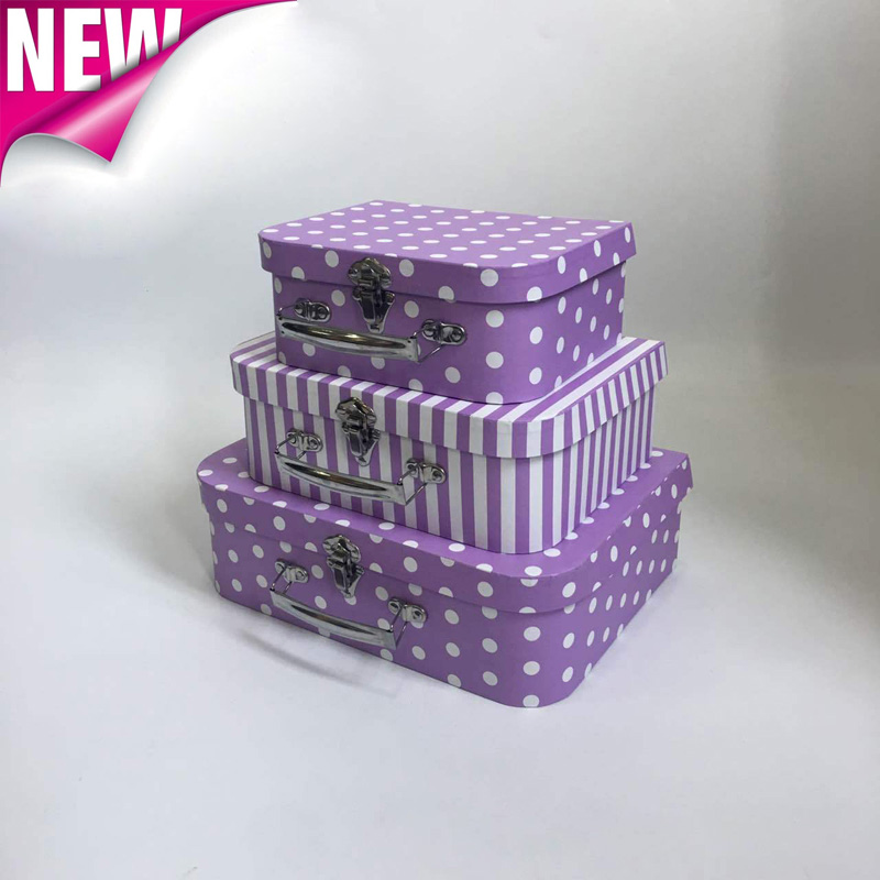 3pcs/set Color Wave Point Suitcase Rose Valentine's Day Party Holiday Box Wedding Party Decoration Gift Box Christmas Gift Box