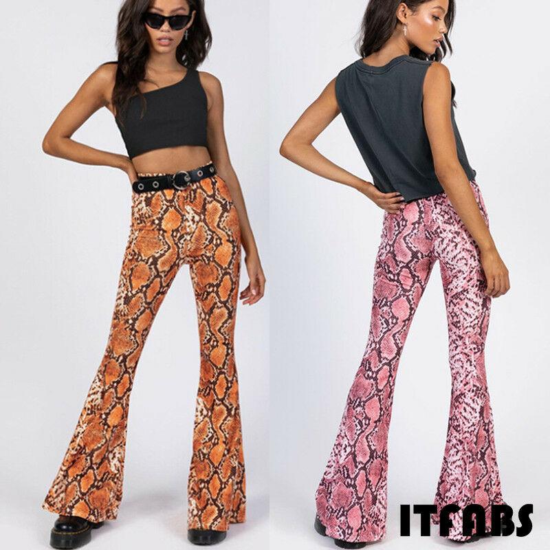 New 2020 Women's Flare Sexy Snake skin Bell Bottom Stretch High Waist Pants Trousers Ladies Long Snake Pants Fashion Streetwear