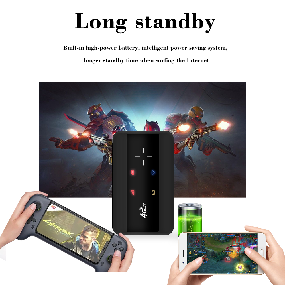 KuWFI Portable 4G LTE Router 3G/4G Wifi SIM Router Modem Pocket Wi-fi Mobile Hotspot Car Wi-fi Router With Sim Card Slot 4
