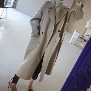Winter Beige Elegant Wool Coat Women Korean Fashion Black Long Coats Vintage Minimalist Woolen Overcoat Camel Oversize Outwear 2