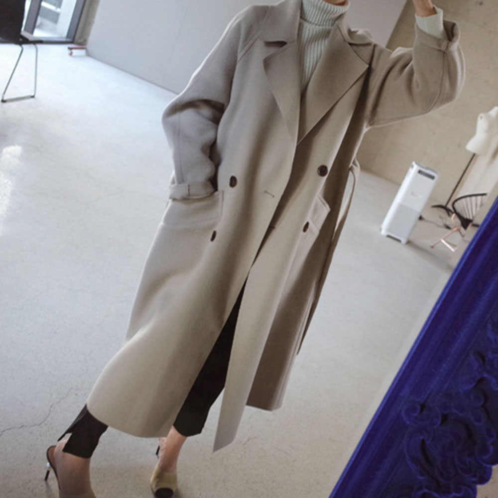 Musim Dingin Beige Elegan Campuran Wol Wanita Korea Fashion Hitam Panjang Mantel Vintage Minimalis Wol Mantel Unta Kebesaran Lebih Tahan Dr