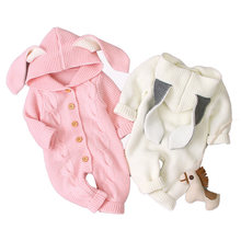 Вязаный теплый комбинезон для новорожденных мальчиков и девочек