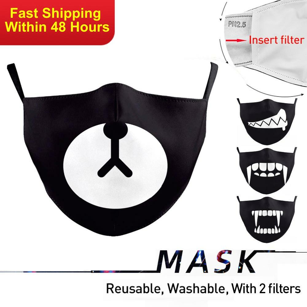 Zawaland Cartoon Childrens Mouth Masks Black Bear Face Mask Reusable Proof Flu Mask Cover Washable Fabric Mask With 2 Filters