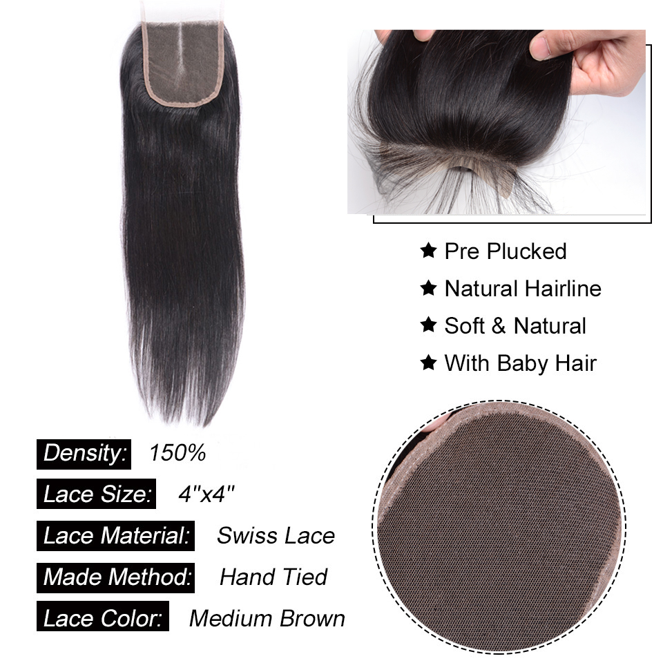 Image 5 - Peruvian Hair Bundles With Closure 8  30 Inch Remy Human Hair 3 Bundles Straight Hair Bundles With Closure-in 3/4 Bundles with Closure from Hair Extensions & Wigs