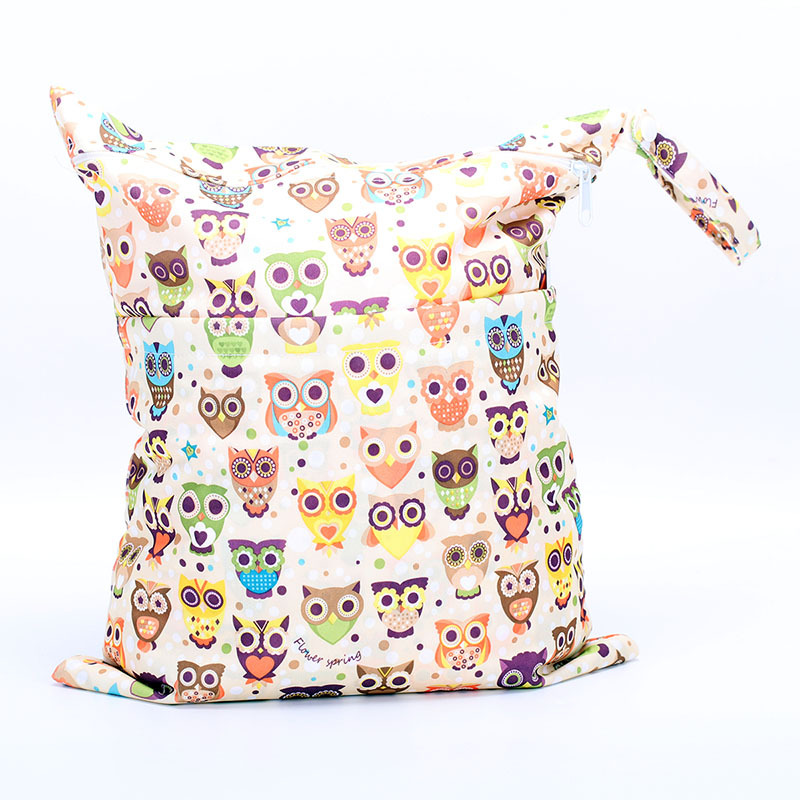 Snap Closure-Double Zipper Printed Diaper Bag Storage Bag-Color Owl Pattern Small Wholesale