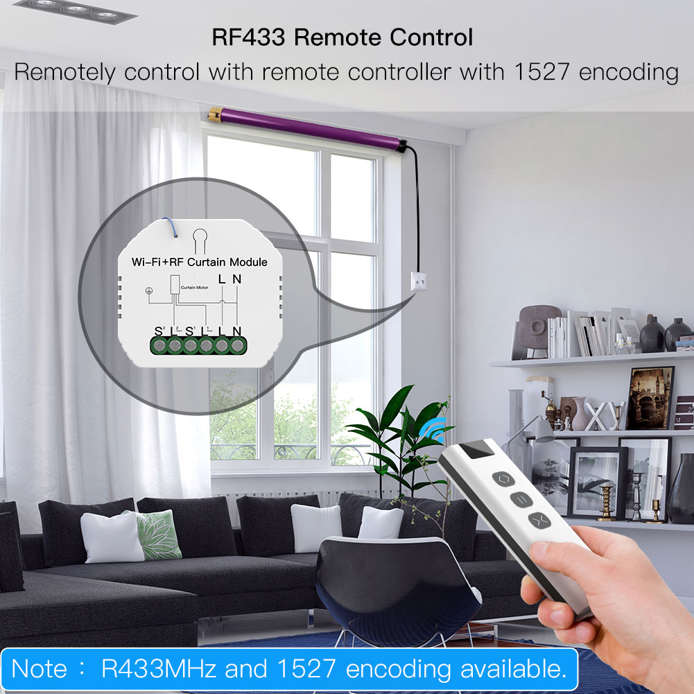 WiFi RF433 Blinds Curtain Switch with Remote for Electric Roller Shutter Sunscreen Tuya Smart Life Google Home Alexa Smart Home