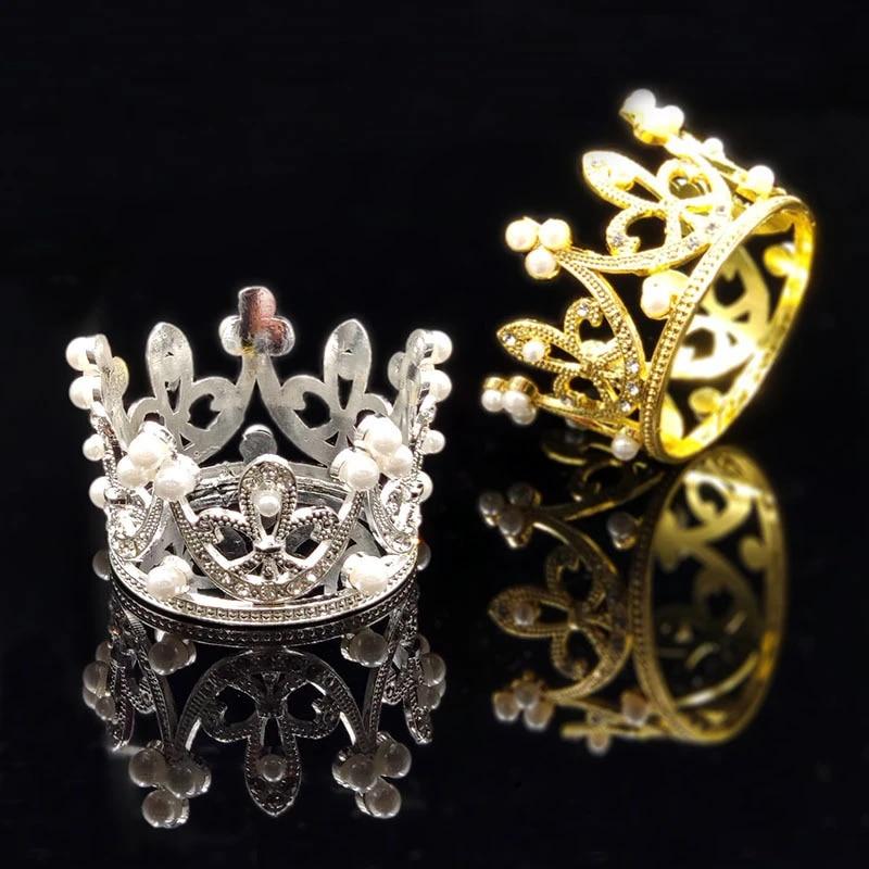 Mini Gold Crown Princess Topper Crystal Pearl Tiara Hair Valentine/'s Day Gift SM
